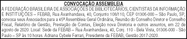 Convocação de Assembléia - Processo Eleitoral 2020 - FEBAB